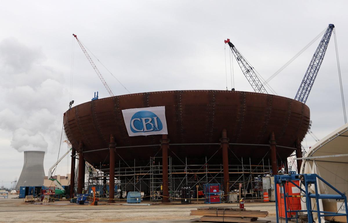 11 Aralık 2012: Vogtle nükleer güç tesisindeki yeni bir reaktörün muhafaza kabı inşa ediliyor.