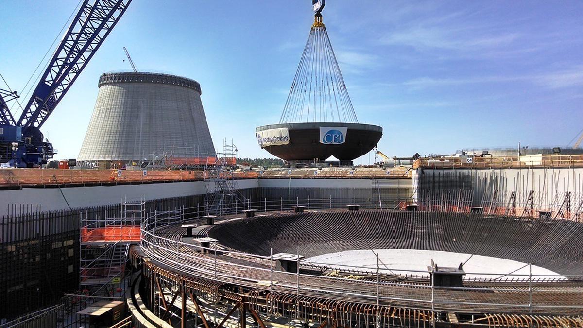 7 Mayıs 2014: Vogtle Ünite 4'e yerleştirilmiş 816 tonluk muhafaza kabı alt giriş kısmı.